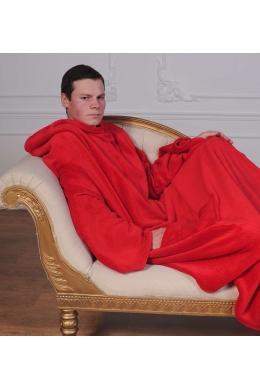 Рукоплед. Плед с рукавами и карманами из микрофибры 200х150. Красный SKL20-141159